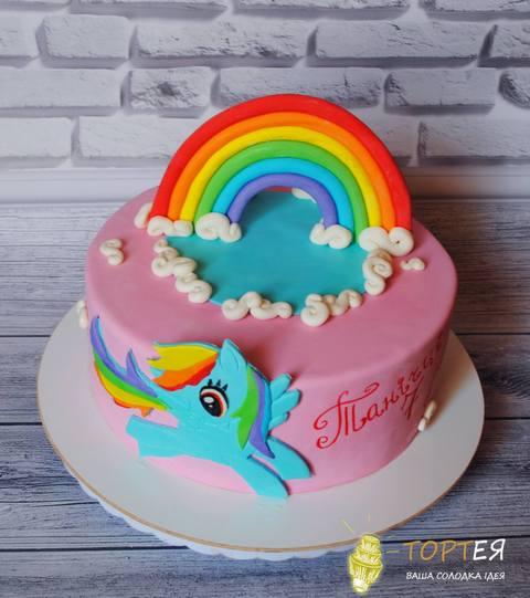 Рожевий круглий торт мій маленький поні для дівчинки