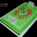 Великий прямокутний торт у формі футбольного поля