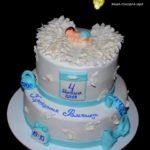 Двоярусний торт на хрестини хлопчика