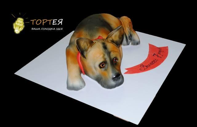 Торт у вигляді собачки для дівчинки