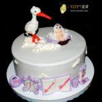 Торт на хрещення з лелекою для Яночки