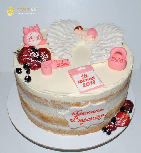 Торт на хрестини з голими коржами