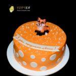 Оранжевий круглий торт з лисичкою