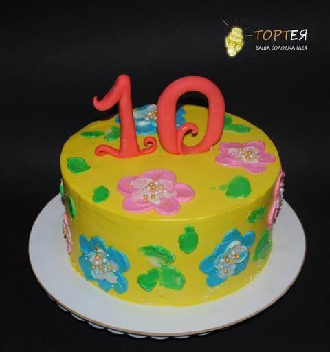 Кольоровий торт на 10 років