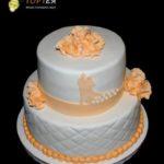 Торт на весілля в персикових кольорах