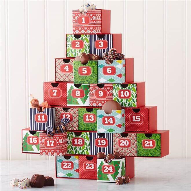 Адвент календар на Різдво у вигляді ялинки