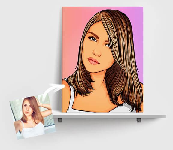 Картина з дівчиною в стилі поп-арт