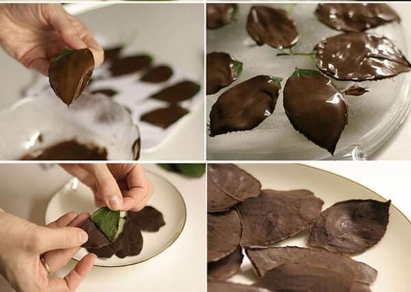Декорування торта шоколадними листочками
