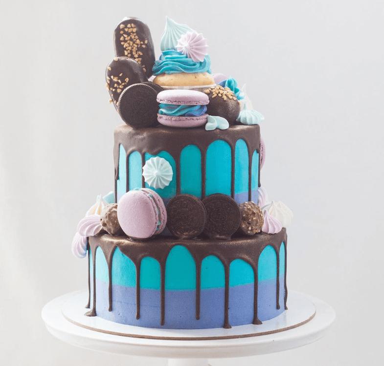 Двоярусний торт без мастики але із солодощами