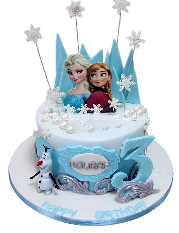 Торт оформлений в стилі мультфільму Холодне Серце
