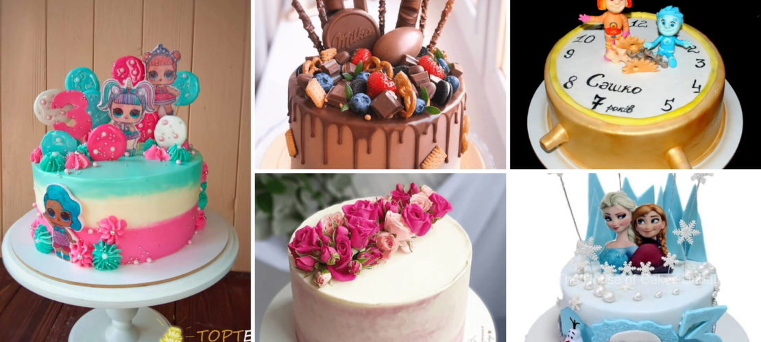 Фото з варіантами оформлення дитячих тортів
