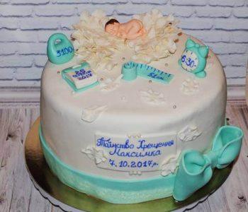 Торт з метрикою на хрещення дитини