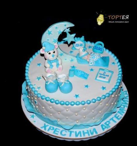 Голубий торт на хрестини хлопчика