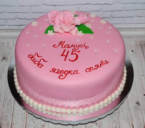 Рожевий круглий торт для мами