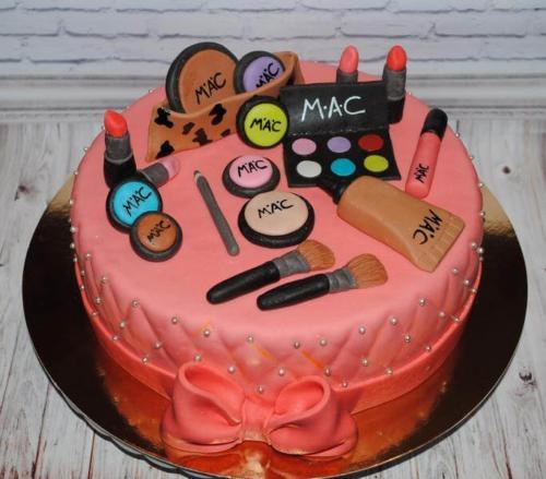 Торт на день народження з косметикою для подруги