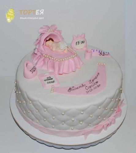 Торт на хрестини дівчинки Софійки