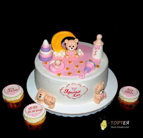 Торт з капкейками на рочок для дівчинки