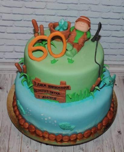 Торт на ювілей 60 років для рибака