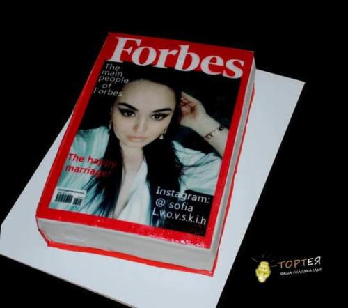 Торт на день народження у вигляді журналу форбс