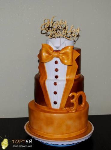 Триярусний торт смокінг на 30 років