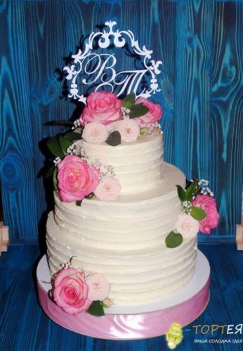 Великий весільний торт без мастики