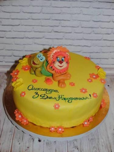 Дитячий торт на день народження, лев і черепаха