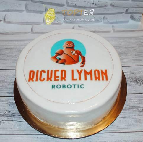 Круглий корпоративний торт для компанії ricker lyman