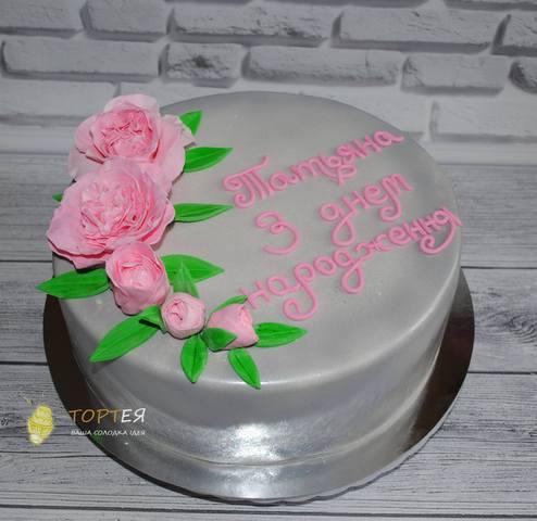 Срібний торт на день народження