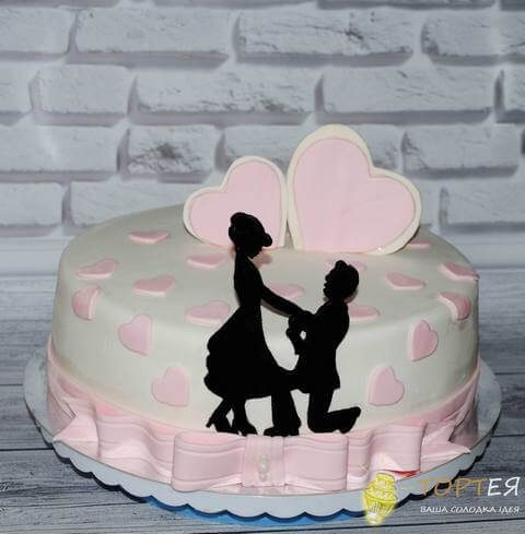 Ніжний торт на розписку чудової пари