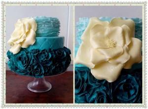 Синій весільний тортик
