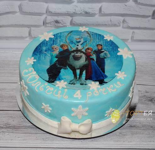 """Торт """"Холодне серце"""" з фото друком на день народження"""
