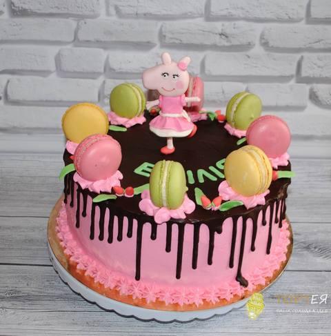 Торт свинка пеппа з макарунами