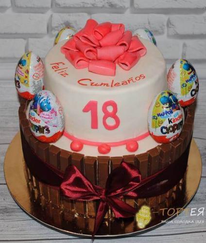 Торт для подруги з кіндерами