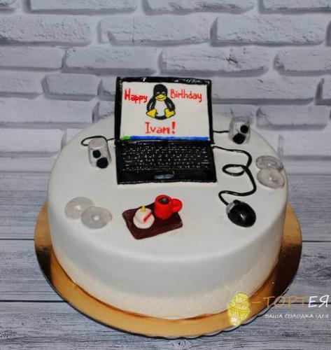 Торт з ноутбуком на день народження програміста