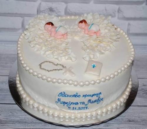 Торт на хрестини двійнят