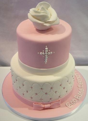 Двоярусний торт на хрестини дівчинки