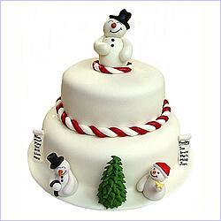 Торт на новий рік - сніговик