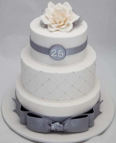 Торт на річницю весілля -  срібне весілля