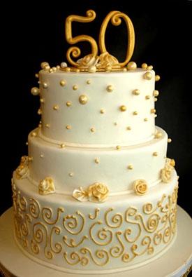 Торт на річницю весілля - золоте весілля