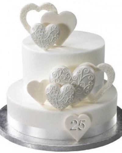 Торт на срібне весілля - серця