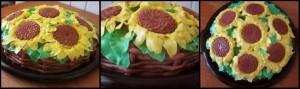 Святковий торт корзина соняшників