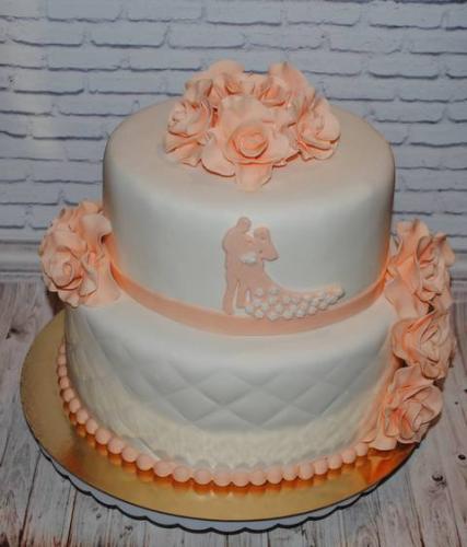 Весільний торт - персиковий