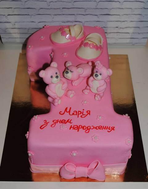 Рожевий торт одиничка для дівчинки