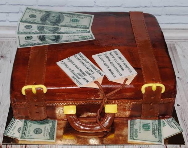 Торт валіза грошей на ювілей