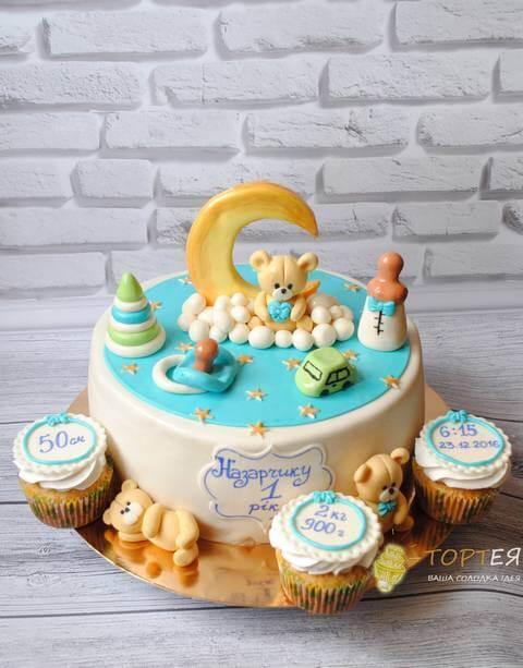 Оригінальний торт на рочок для хлрчика з ведмедиками та капкейками